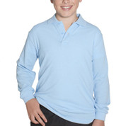 SHELBY | kids long sleeve polo | sky blue