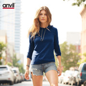ladies anvil lightweight hooded t-shirt | navy+dark grey