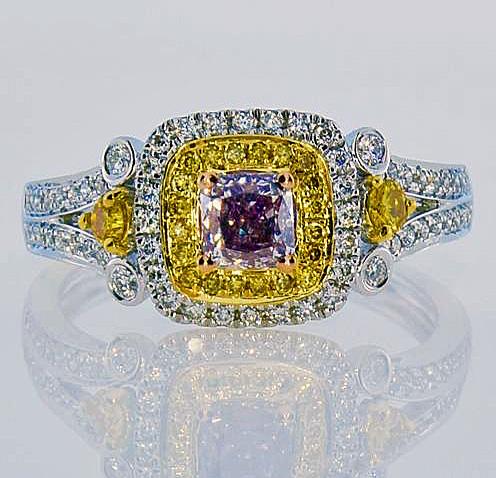 fancy purple & yellow diamond ring