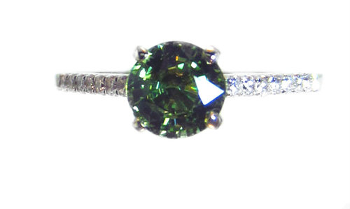 18k Demantoid Garnet & Diamond Ring