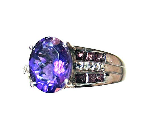 Amethyst, Garnet & Diamond Ring