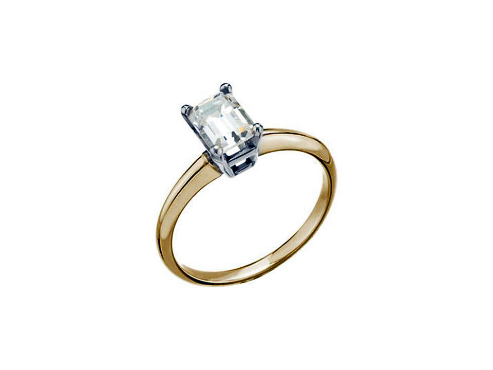 18KT Yellow Emerald cut Diamond Ring