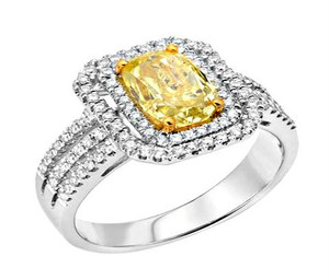 Natural Fancy Intense Yellow & White Diamond Ring