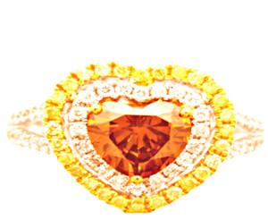 Natural Fancy Orange & Yellow and White Diamond Ring