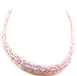 Natural Fancy Pink Diamond Necklace-55+ctw