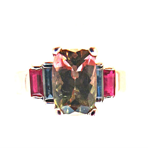 Bi Color Tourmaline, Ruby and Sapphire Designer Ring, set in 18 KT White Gold