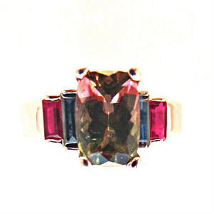 Watermelon Tourmaline Designer Ring, accented with Top Quality Rubies and Sapphires!  Don't miss it!