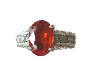 Padparadscha Sapphire & Diamond Ring