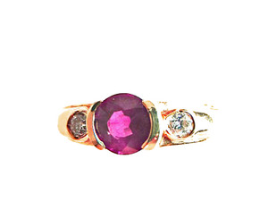 Round Burma Ruby and Diamond Ring
