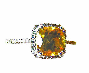 Citrine & Halo Diamond Ring