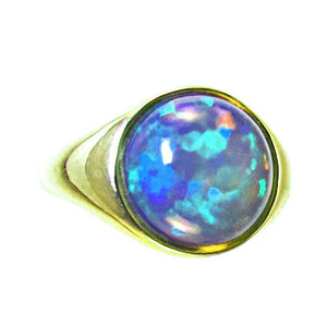 African Opal Gold Ring