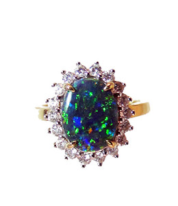 14KT Australian Black Opal & Diamond Designer Gold Ring
