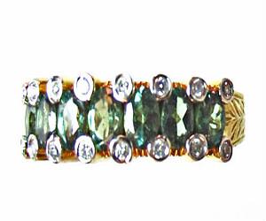 alexandrite and diamond designer ring