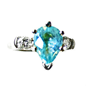 Neon Pool Water Blue (Paraiba Copper Bearing) Tourmaline & Diamond Ring