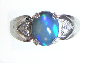 Blue African Opal and Diamond Ring