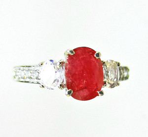 Burma Ruby and White Topaz Ring
