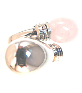 Rose Quartz Ring from Italian Designer, Makuti