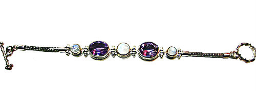 Amethyst and Moonstone Bracelet