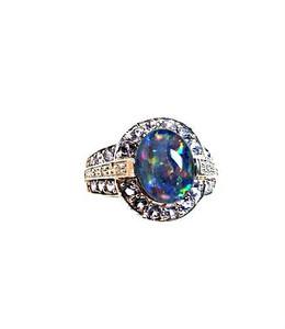 Lovely Australian Boulder Opal & Tanzanite Ring
