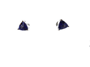 Dark Tanzanite Trillion Earrings