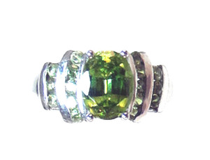 Lovely Green Sphene, Demantoid Designer Ring