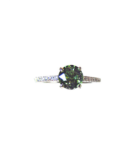 Demantoid Garnet & Diamond Designer Ring - Top Quality