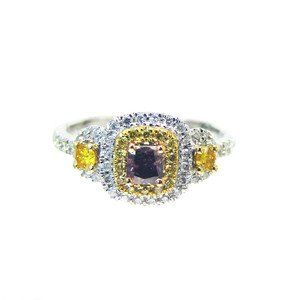 Dark Purple, Yellow and White Diamond Cocktail Ring