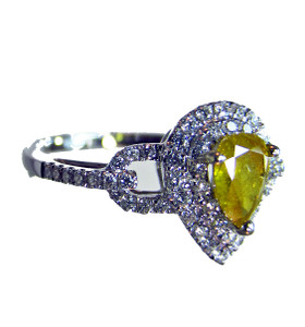 Natural fancy yellow and white diamond ring - investment grade