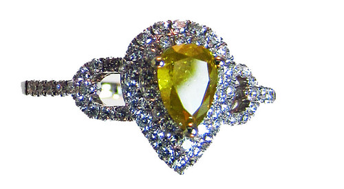 Fancy Intense Yellow and White Diamond Ring