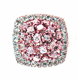 Natural Fancy Pink and White Diamond Cluster Ring