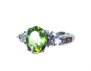 Natural Green Sphene and White Zircon Ring