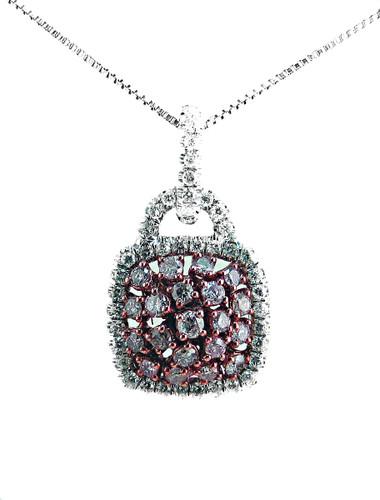 Pink Diamond Pendant - 18KT White Gold White Diamond Semi-mount, with chain