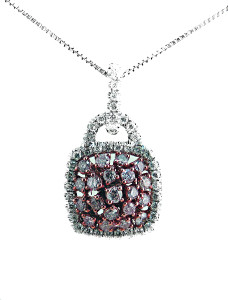 Pink Diamond Pendant - 18KT White Gold White Diamond Semi-mount, with chain