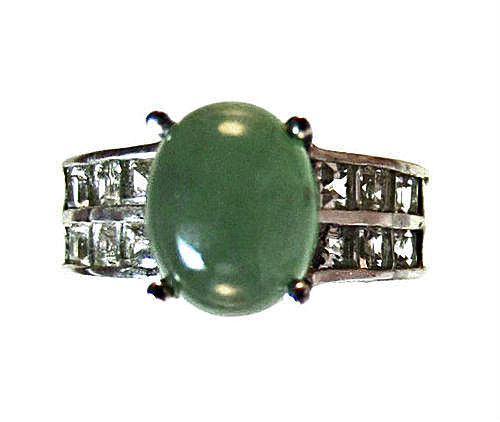 green emerald quartz and white topaz ring