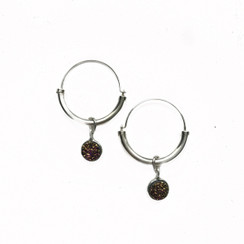 Hoop Earrings with 8mm Druzy Stone