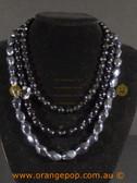 Beautiful black fashion necklace, multi stranded