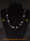 Beautiful black fashion necklace, beaded with rhinestone detailing