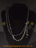 Beautiful black fashion necklace, bead and metal link design