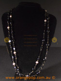 Beautiful black fashion necklace, multi beaded strands