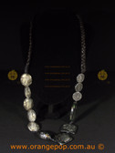 Beautiful black fashion necklace, lace print look pattern on beads
