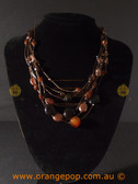 Wire brown tone beaded fashion necklace