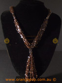 Fine brown beaded stranded fashion necklace