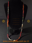 Mixed coloured beaded fashion necklace