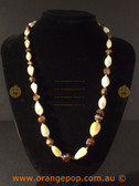 Brown with white beaded fashion necklace