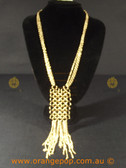 Unique gold coloured necklace with circle link feature