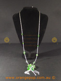 Silver coloured necklace with green beaded detail