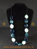 Long beaded detailed necklace blues