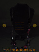 Long purple, black women's necklace