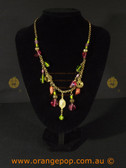 Multi coloured charmed women's necklace