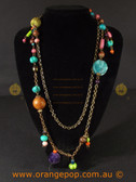 Long abstract Multi coloured women's necklace